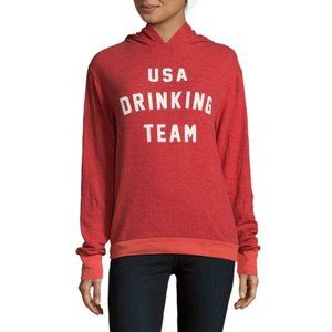 Wildfox Red Hooded Sweater USA Drinking Team Small